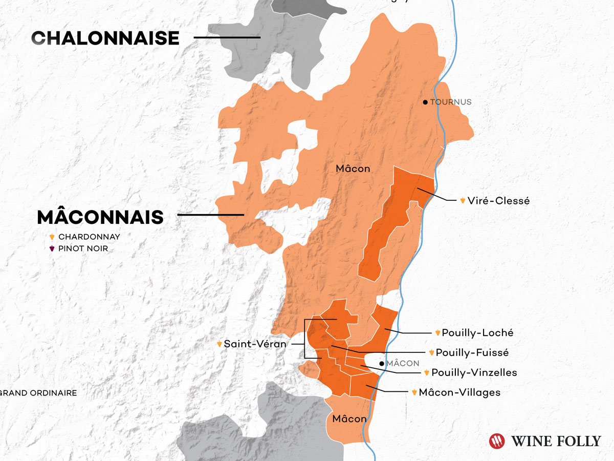 Mâconnais Wine Map - Burgundy - Wine Folly