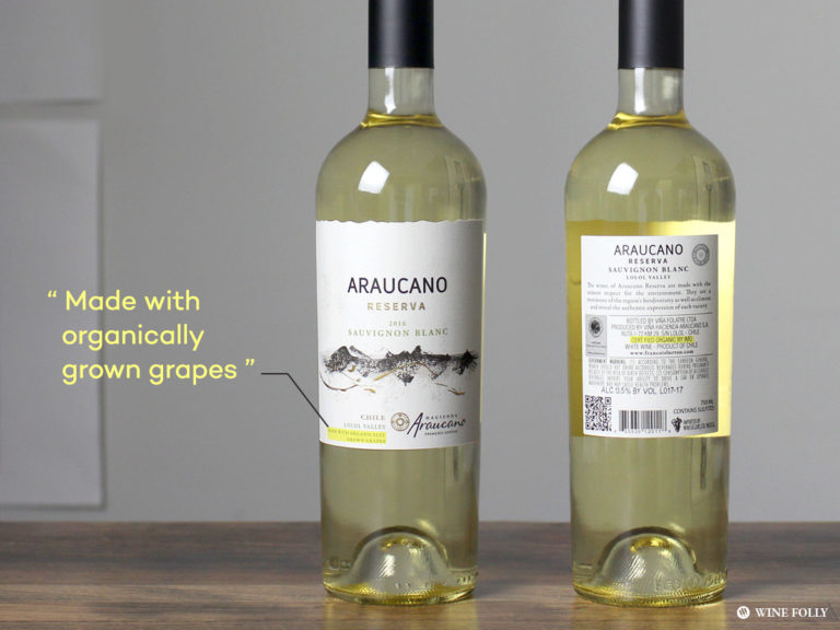 "Wines made with organic grapes - Araucano ""reserva"" Sauvignon Blanc Chile"