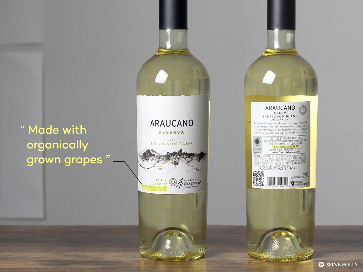 Wines made with organic grapes - Araucano reserva Sauvignon Blanc Chile