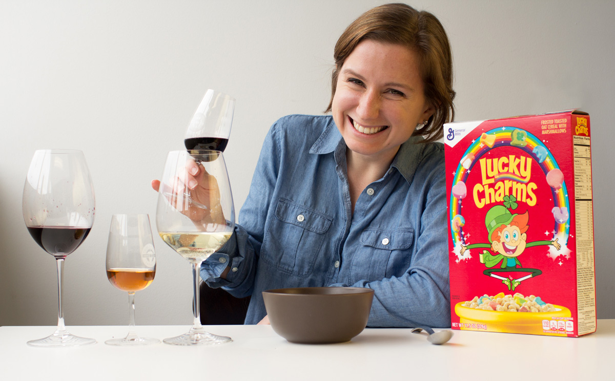 Madeline Puckette attempts to pair wine with Lucky Charms