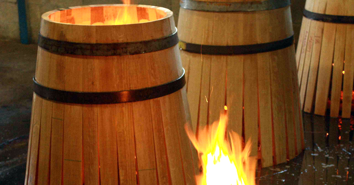 making oak barrels - toasting oak
