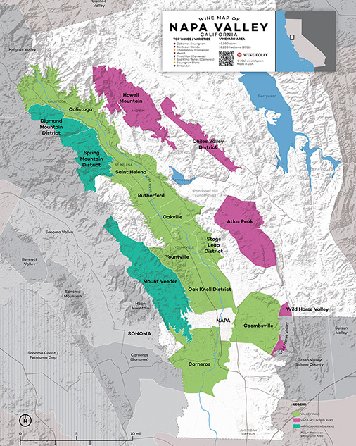 Napa Valley California wine map - Wine Folly