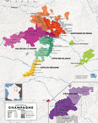 Champagne wine map by Wine Folly - detailed
