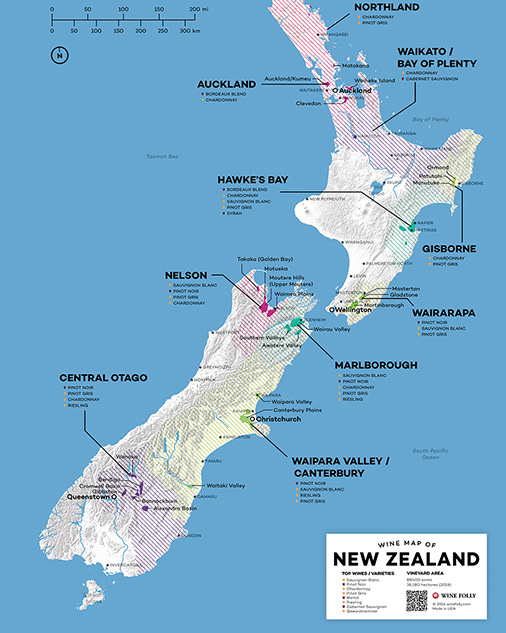 Wine Map of New Zealand