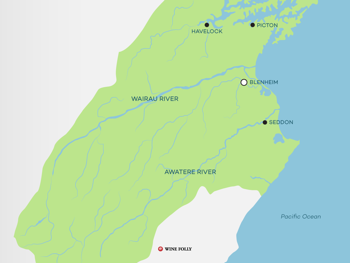 Map of the Marlborough area in New Zealand
