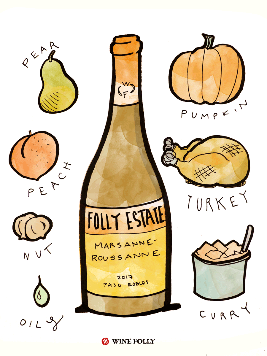Marsanne and Roussanne White Wine Taste & Food Pairing Illustration by Wine Folly