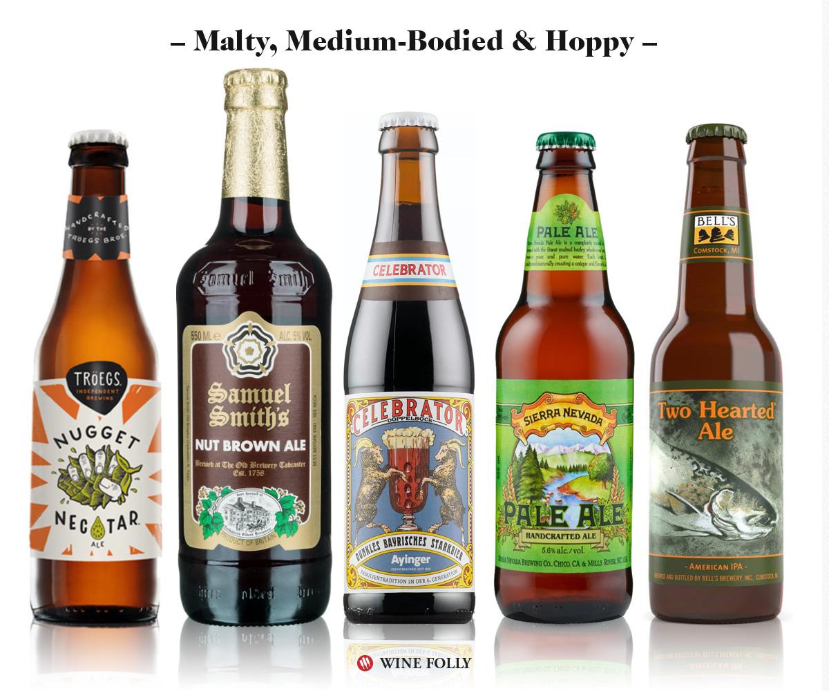 Malty, Medium-bodied, hoppy beers: Troegs Nugget Nectar, Samuel Smiths Brown Ale, Ayinger Celebrator Doppelbock, Sierra Nevada Pale Ale, Bells Two-Hearted IPA