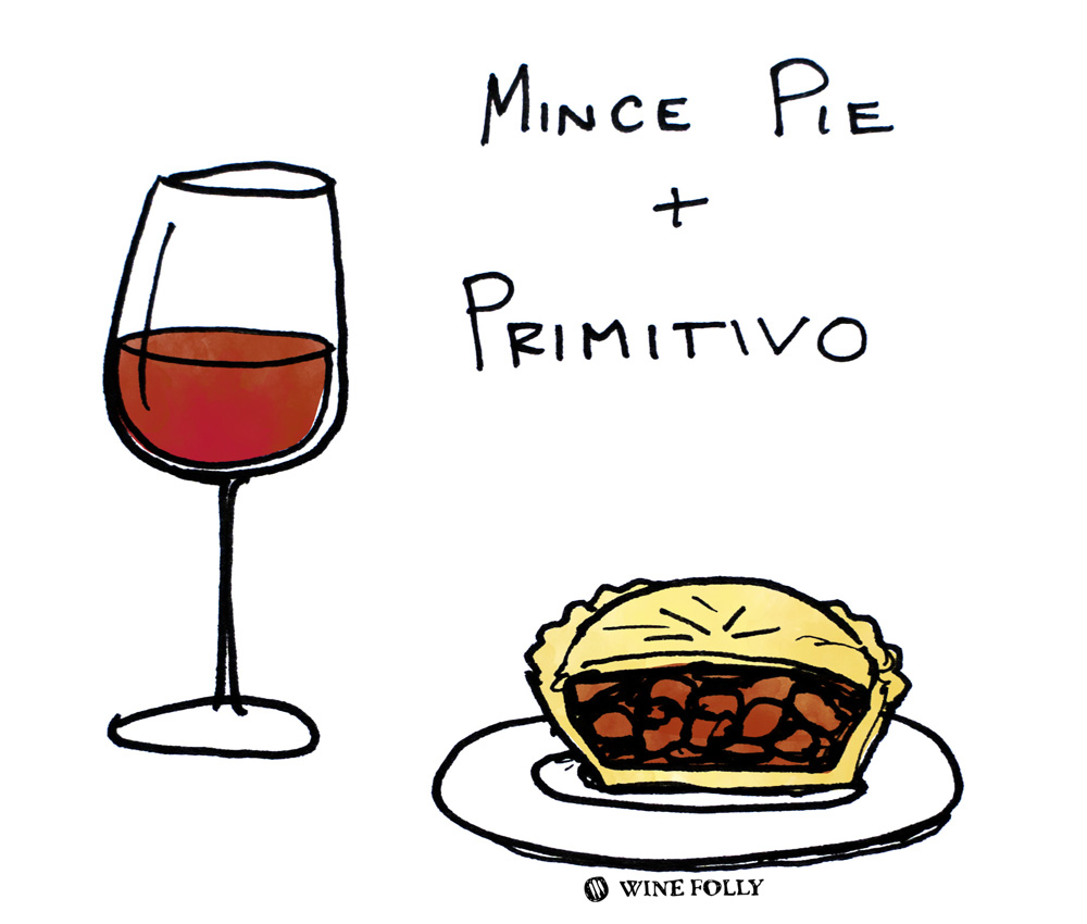 Mince Pies and Primitivo wine pairing illustration by Wine Folly