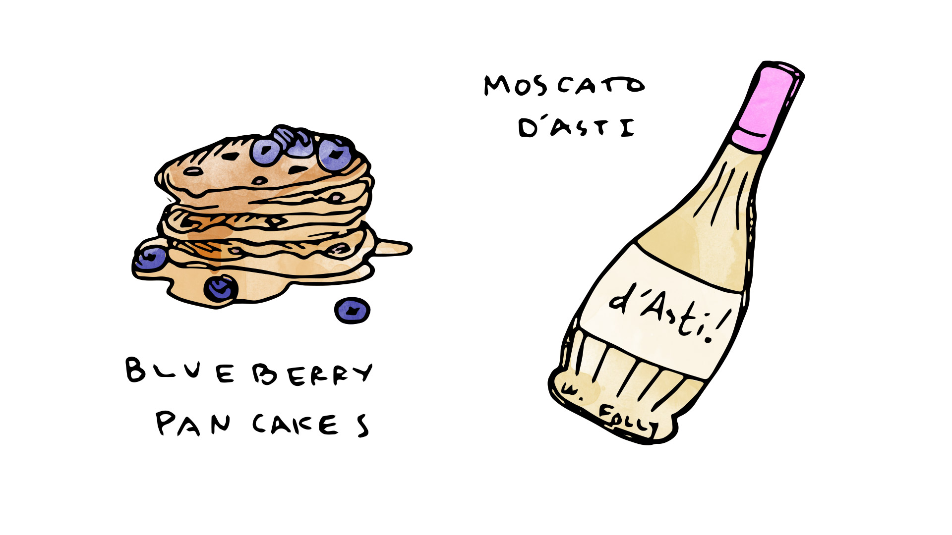 Blueberry pancakes wine pairing with Moscato d Asti  illustration by Wine Folly