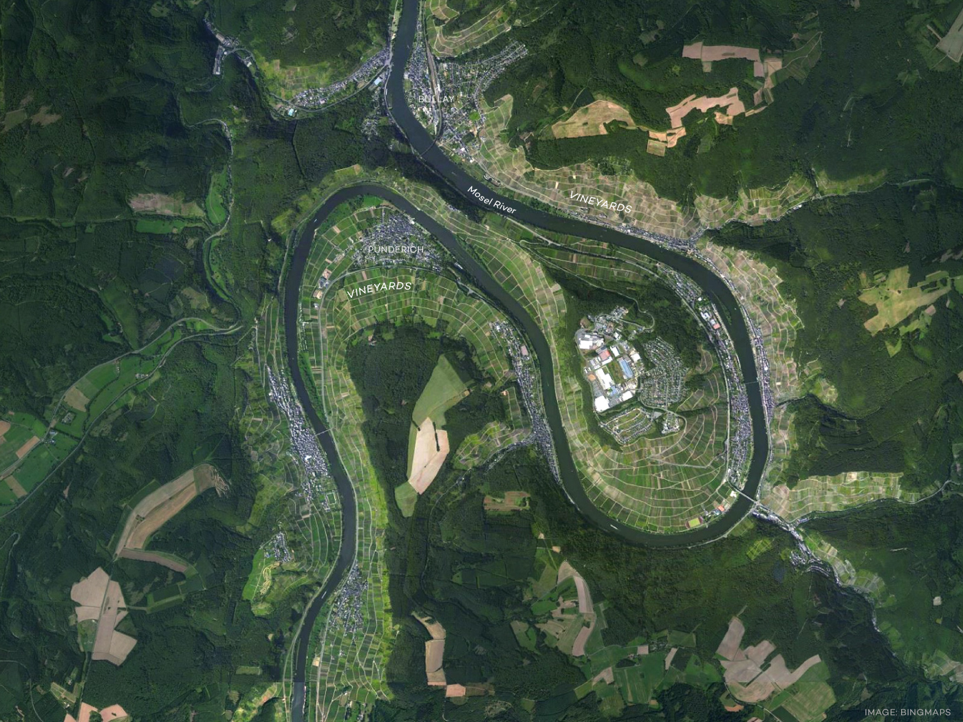 Birdseye view over the Mosel River wine region in Germany