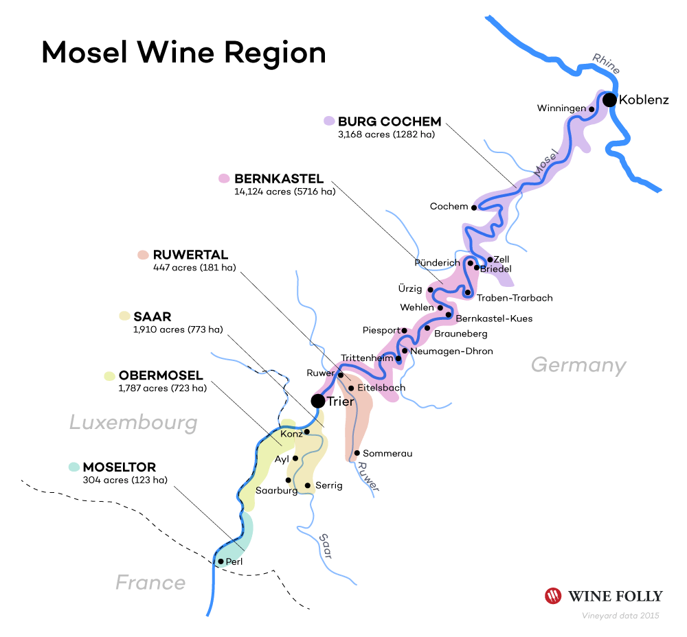 Mosel Wine Map (basic) by Wine Folly