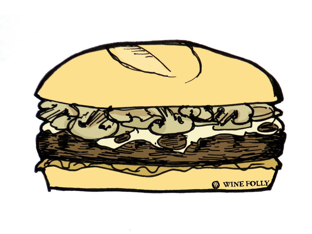 mushroom-swiss-burger-illustration-by-winefolly