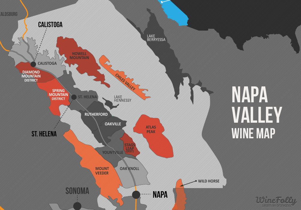 napa valley region map excerpt