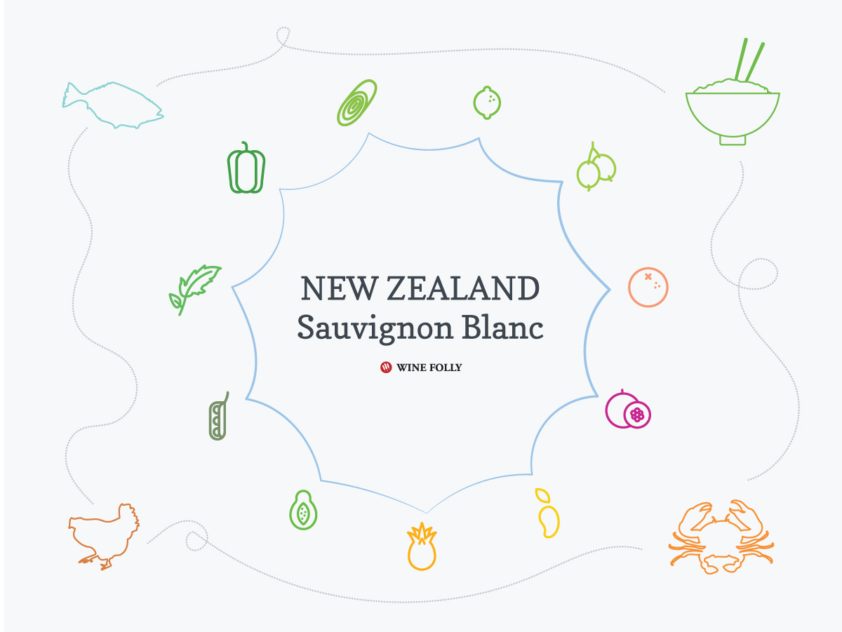 New Zealand Sauvignon Blanc taste and food pairing. image by Wine Folly