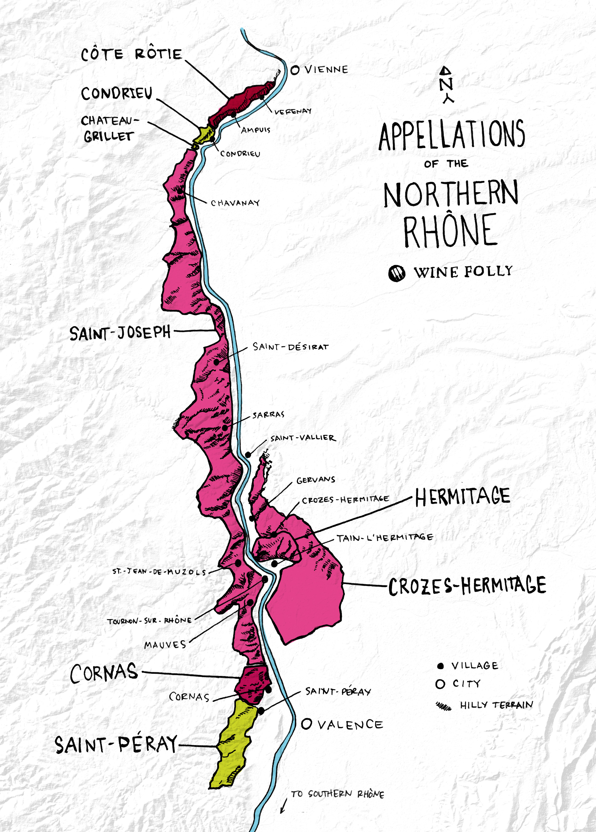 Appellations and wines of the Northern Rhone Map by Wine Folly