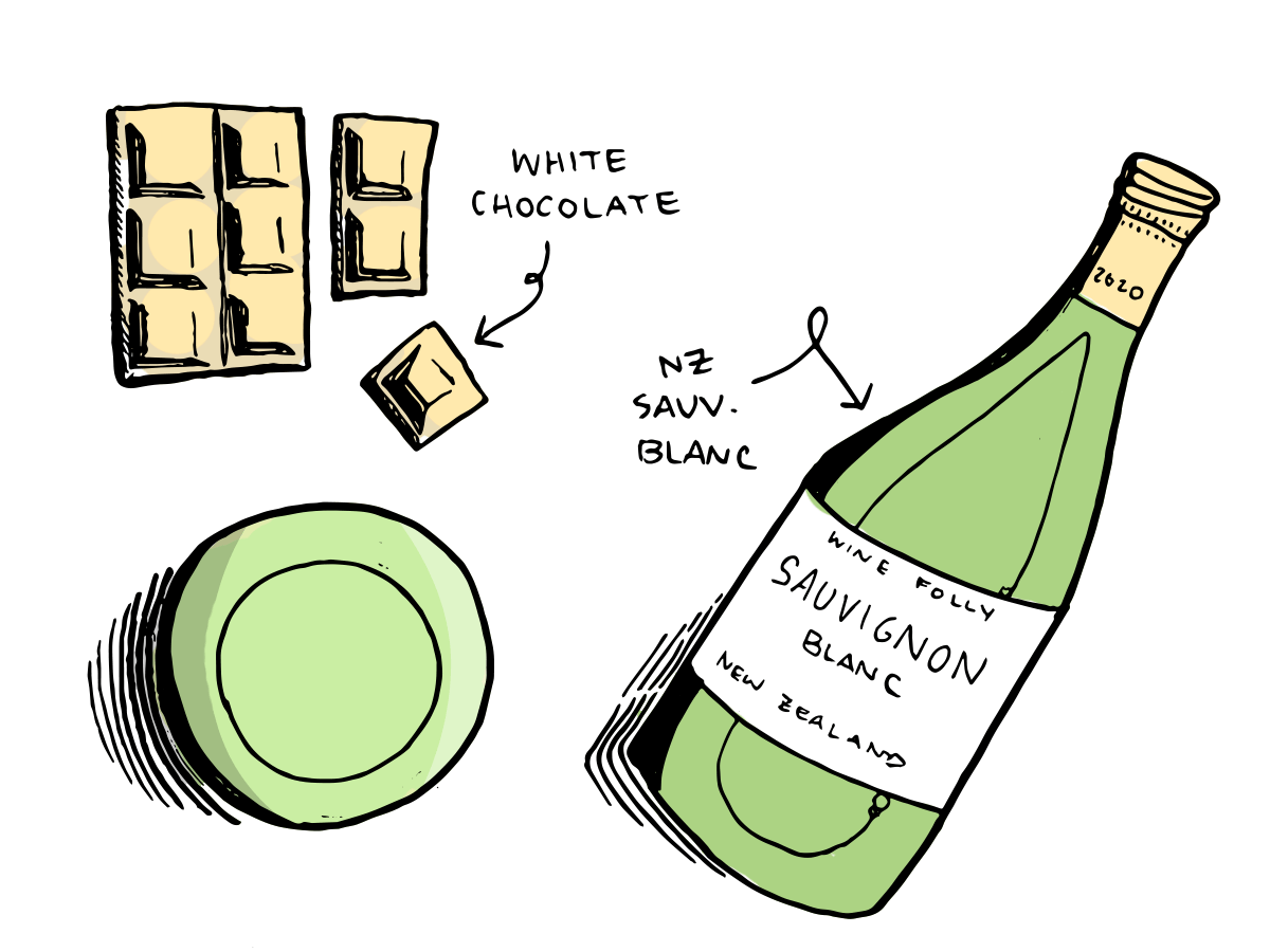 new zealand sauvignon blanc wine and white chocolate