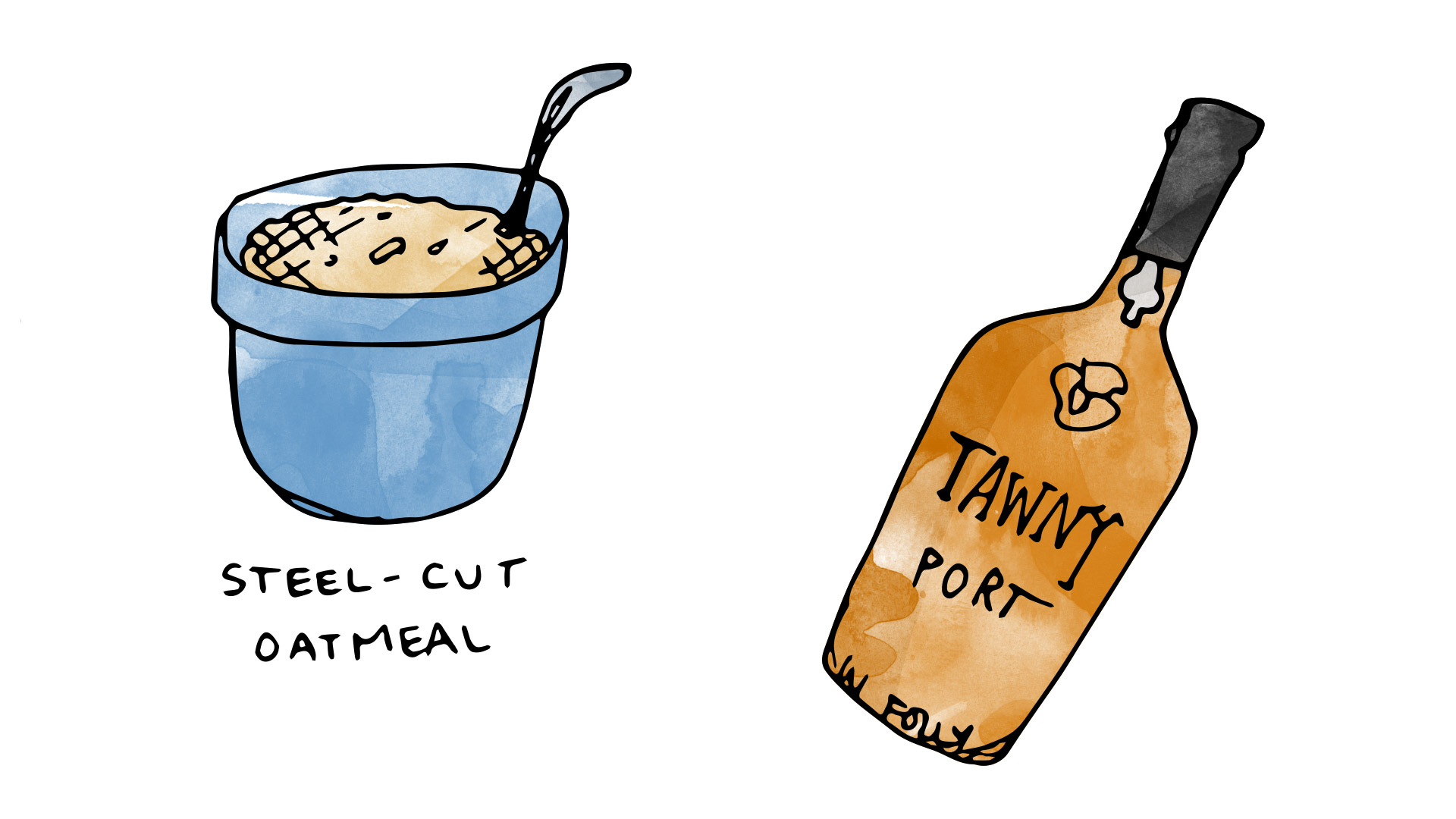 steel cut oatmeal illustration wine pairing with tawny port illustration by Wine Folly