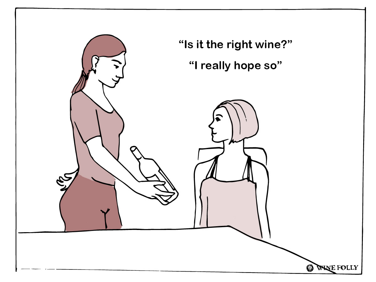 How to order wine in a restaurant - wine presentation - illustration by Wine Folly