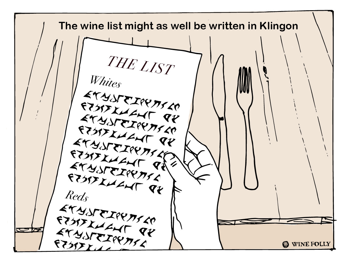 How to order wine in a restaurant - reading the wine list - illustration by Wine Folly