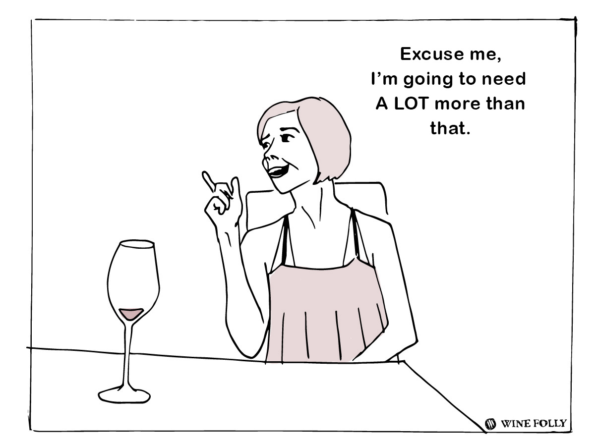 Ordering wine in a restaurant - taste testing the wine - illustration by Wine Folly
