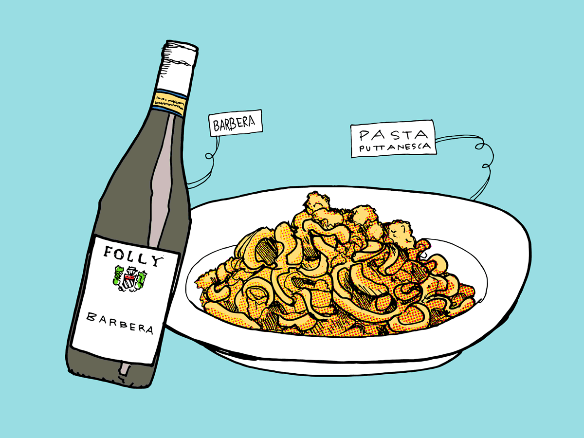 pasta-puttanesca-barbera-wine-folly-illustration