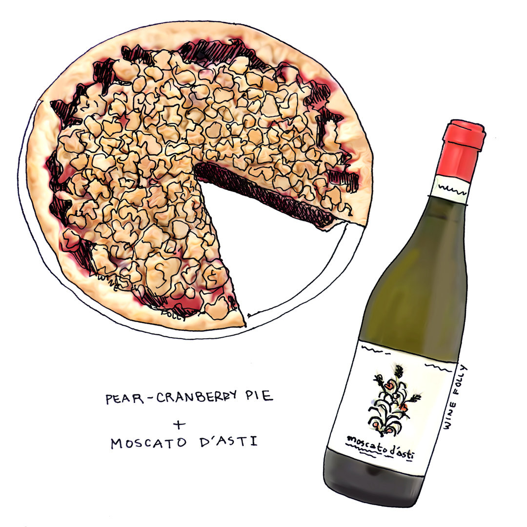 Pear Cranberry Pie Tart Crumble and Wine Pairing with Moscato d'Asti Illustration by Wine Folly