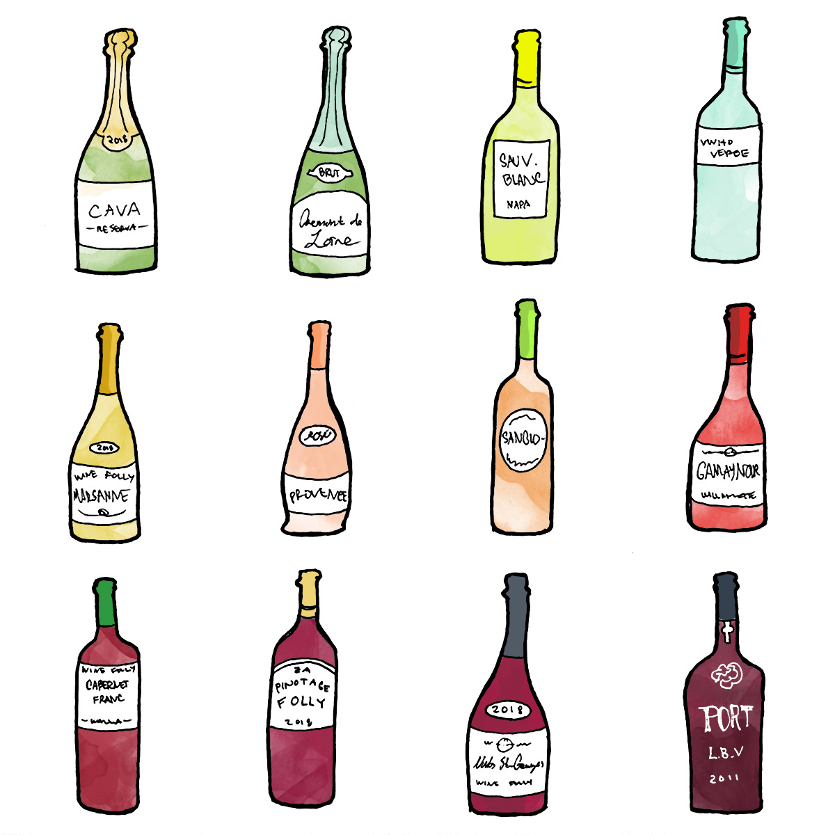 How to build the perfect mixed case of wine. bottle illustration by Wine Folly