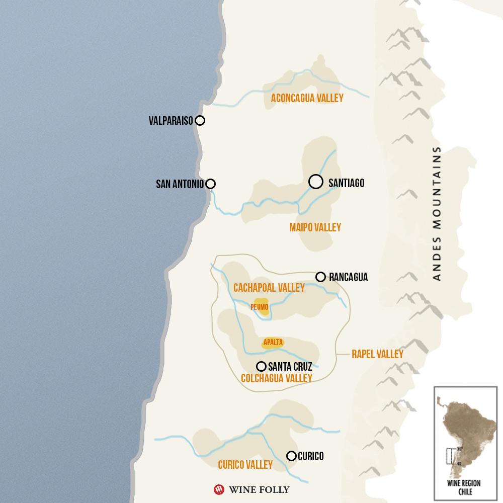 Chile wine map Cabernet Regions Peumo Apalta Colchagua Cachapoal Maipo Chile
