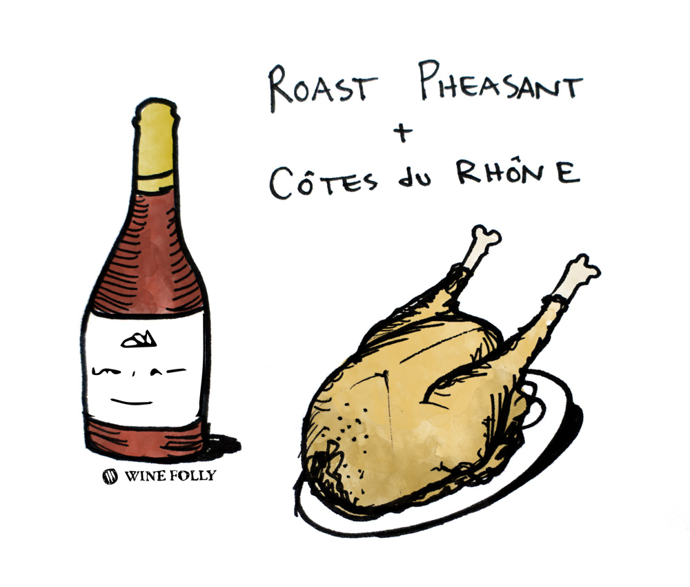 Roast Pheasant and Cotes du Rhone Wine Pairing Illustration by Wine Folly