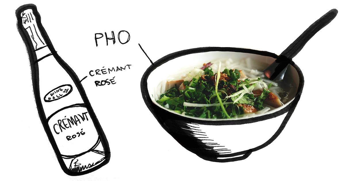 pho-cremant-rose-pairing-winefolly-illustration