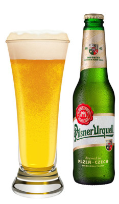 Pilsner Lager Light Beer in a Glass Urquell