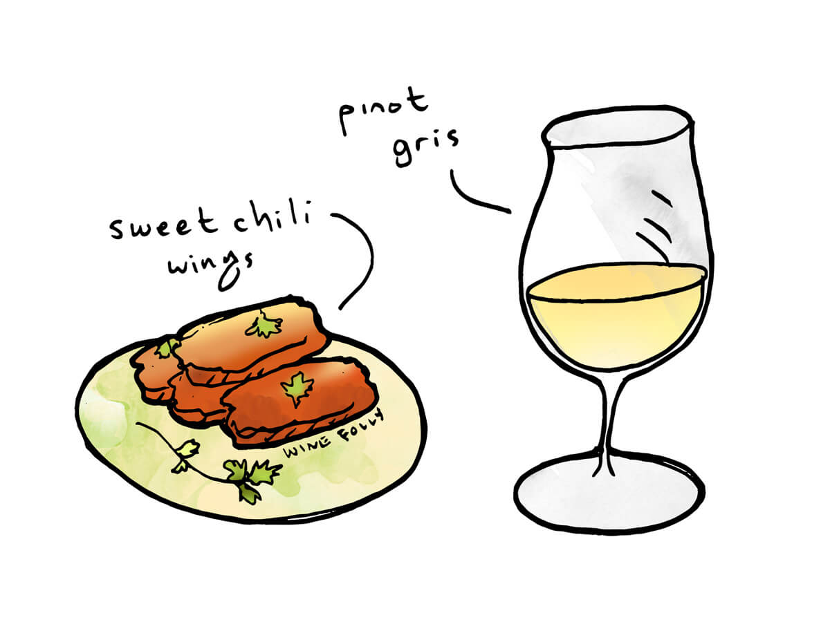 Thai Sweet Chili wine pairing Pinot Gris - illustration by Wine Folly