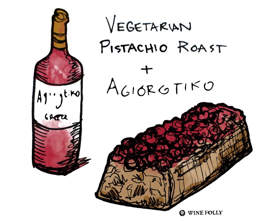 Vegetarian Pistachio Roast Loaf Wine Pairing Illustration by Wine Folly