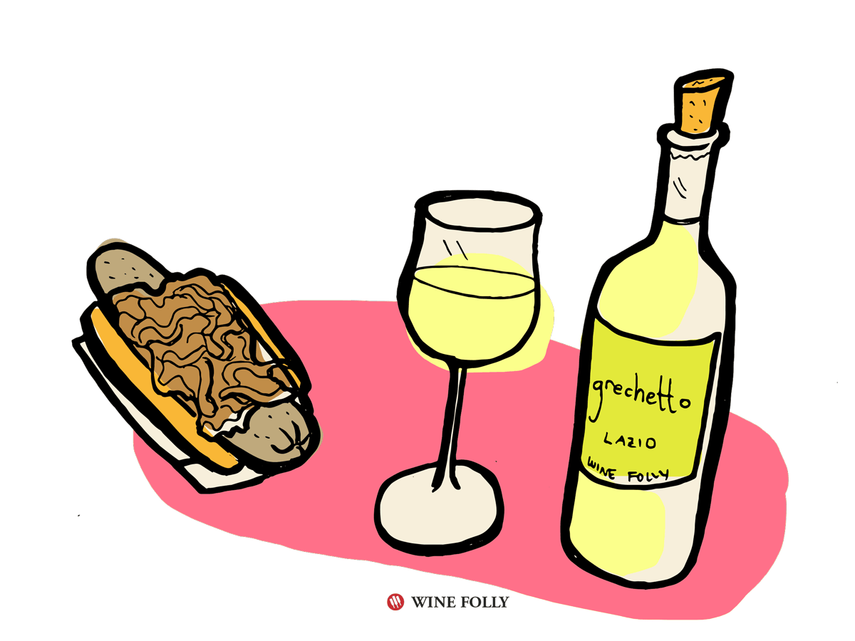 Polish Sausage with Grilled Onion Wine Pairing: Grechetto