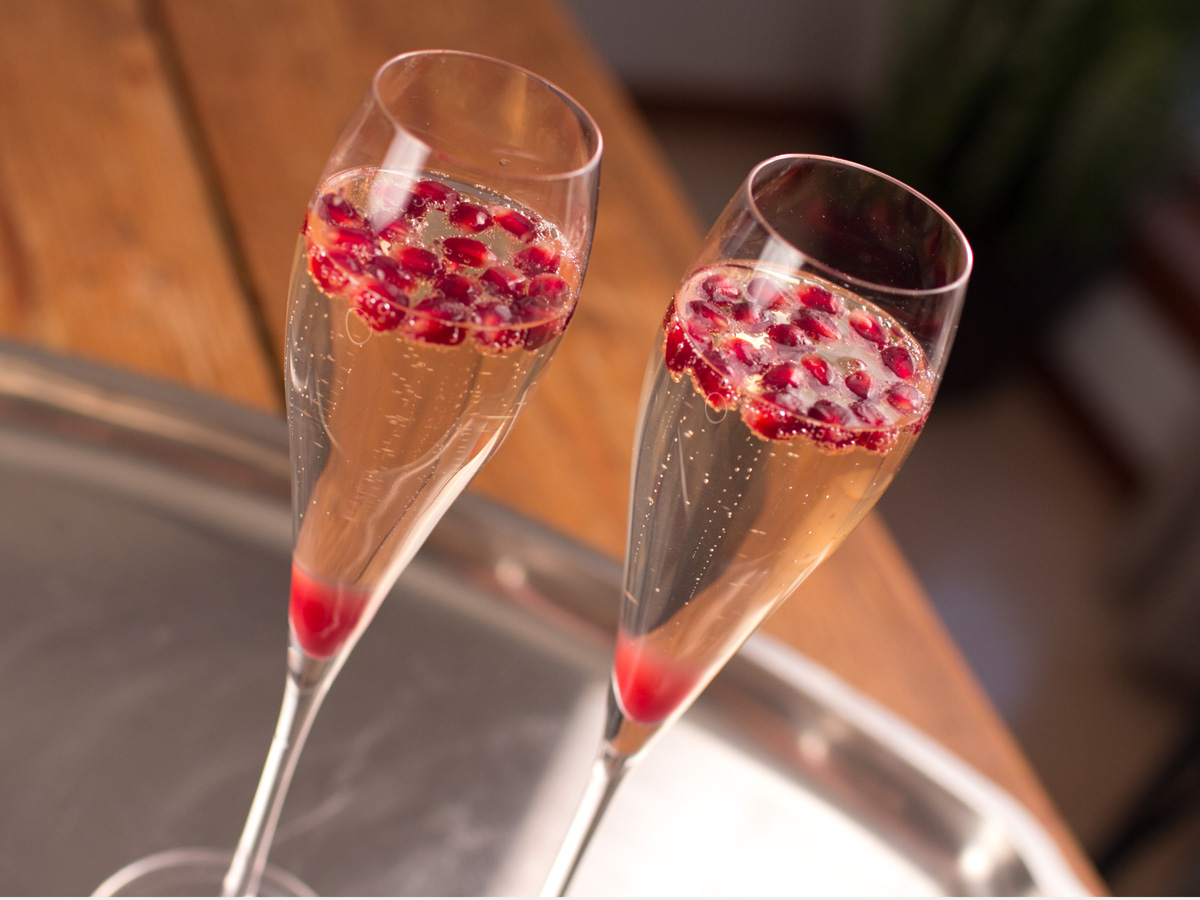 Pomegranate Champagne Cocktail Recipe for the holidays