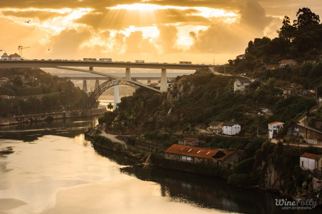 The city of Porto, Portugal, the bridge and the Douro river