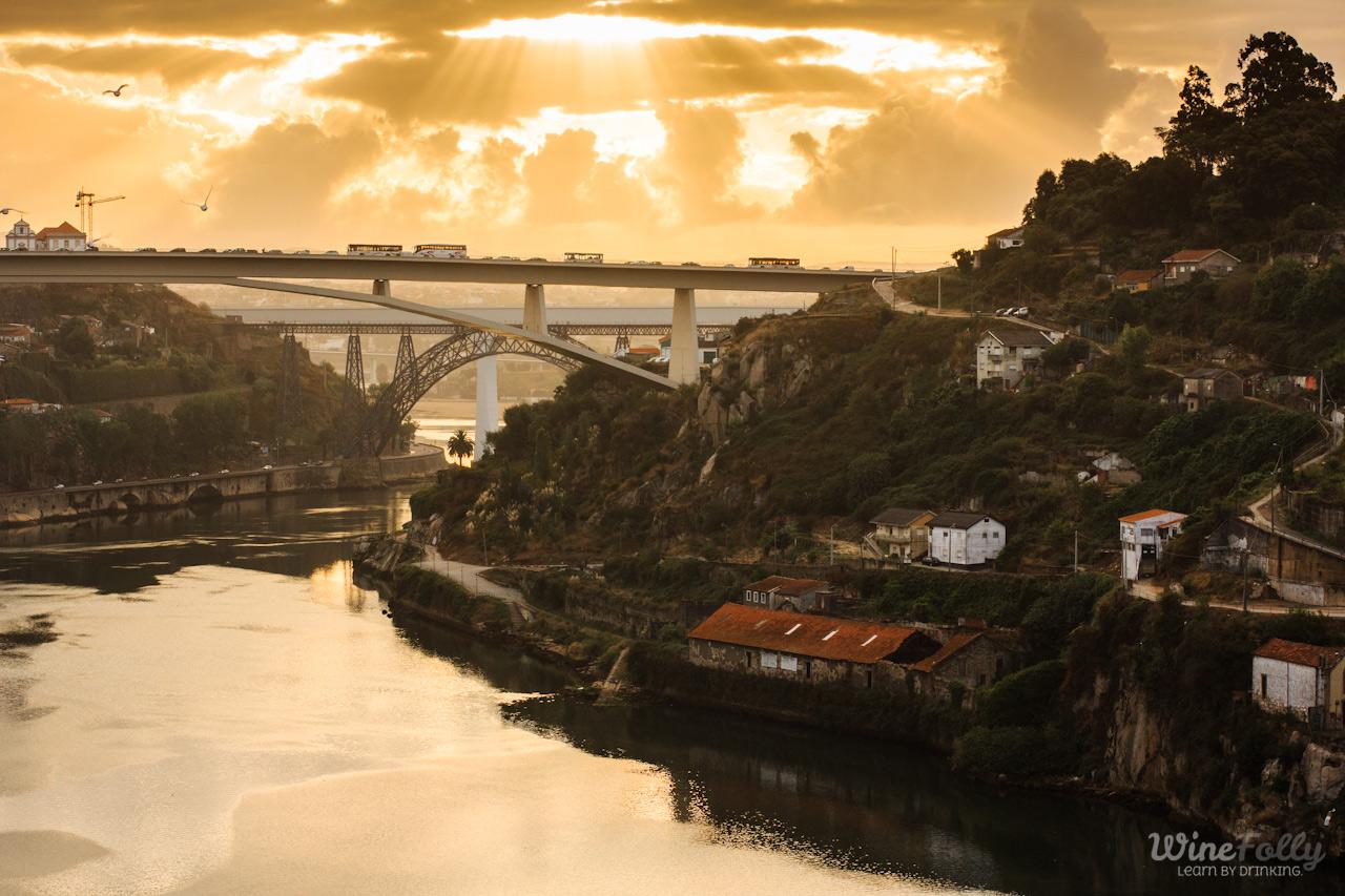 The city of Porto, Portugal, the bridge and the Douro river