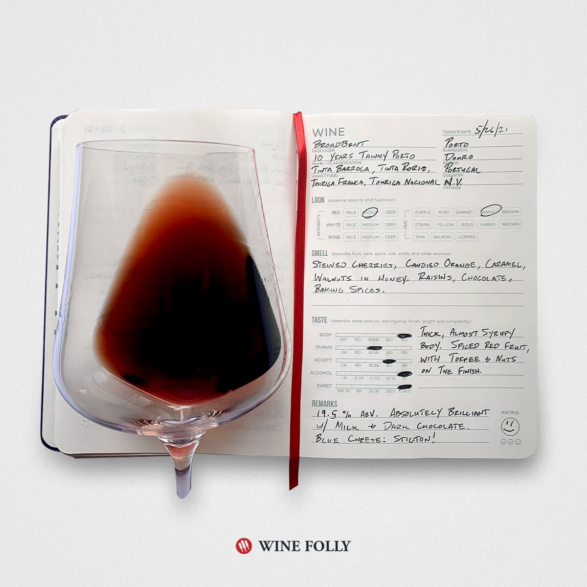 Journal entry for Tawny Port with a glass of wine