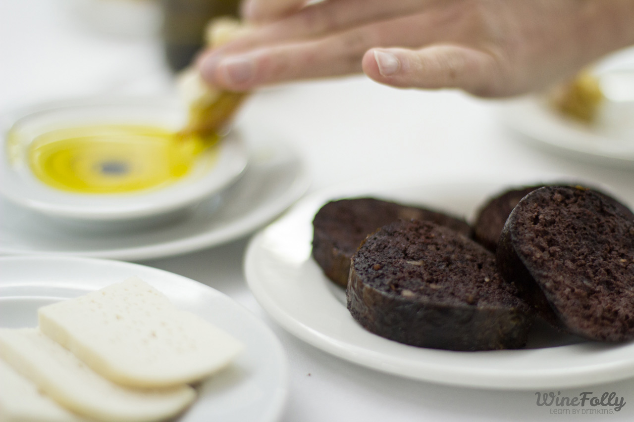 Portuguese olive oil, blood sausage and goat cheese