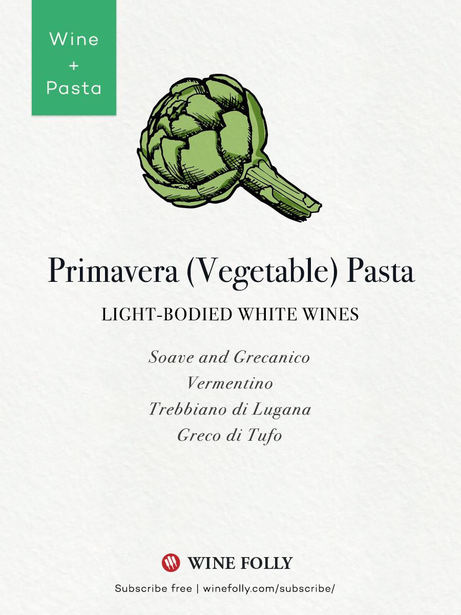 Primavera Artichoke and Vegetable Pasta wine pairings