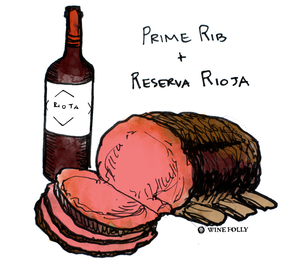 Prime Rib and Reserva Rioja Wine Pairing illustration by Wine Folly