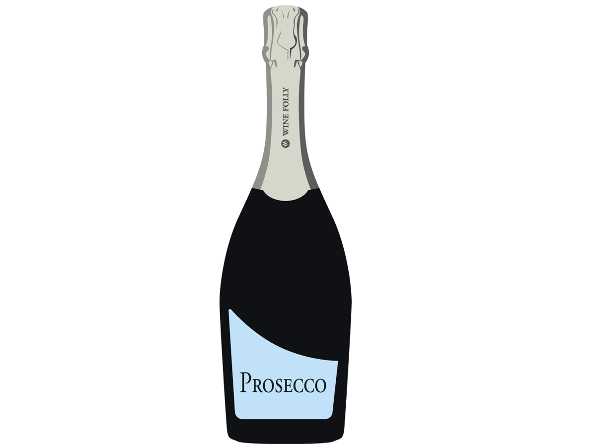 Prosecco Bottle with Blue Label - Illustration by Wine Folly