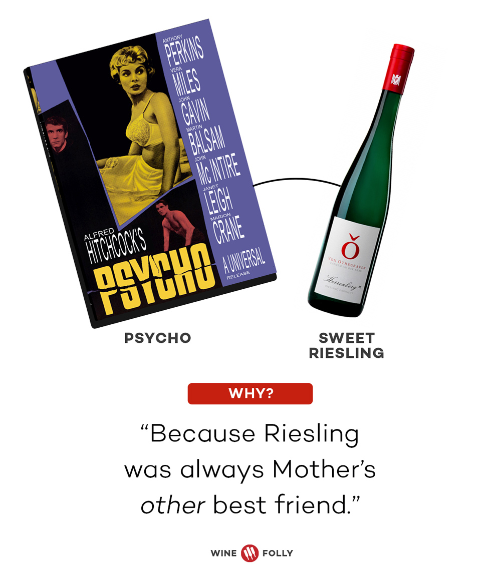 Psycho and Riesling Horror Movie Wine Pairings