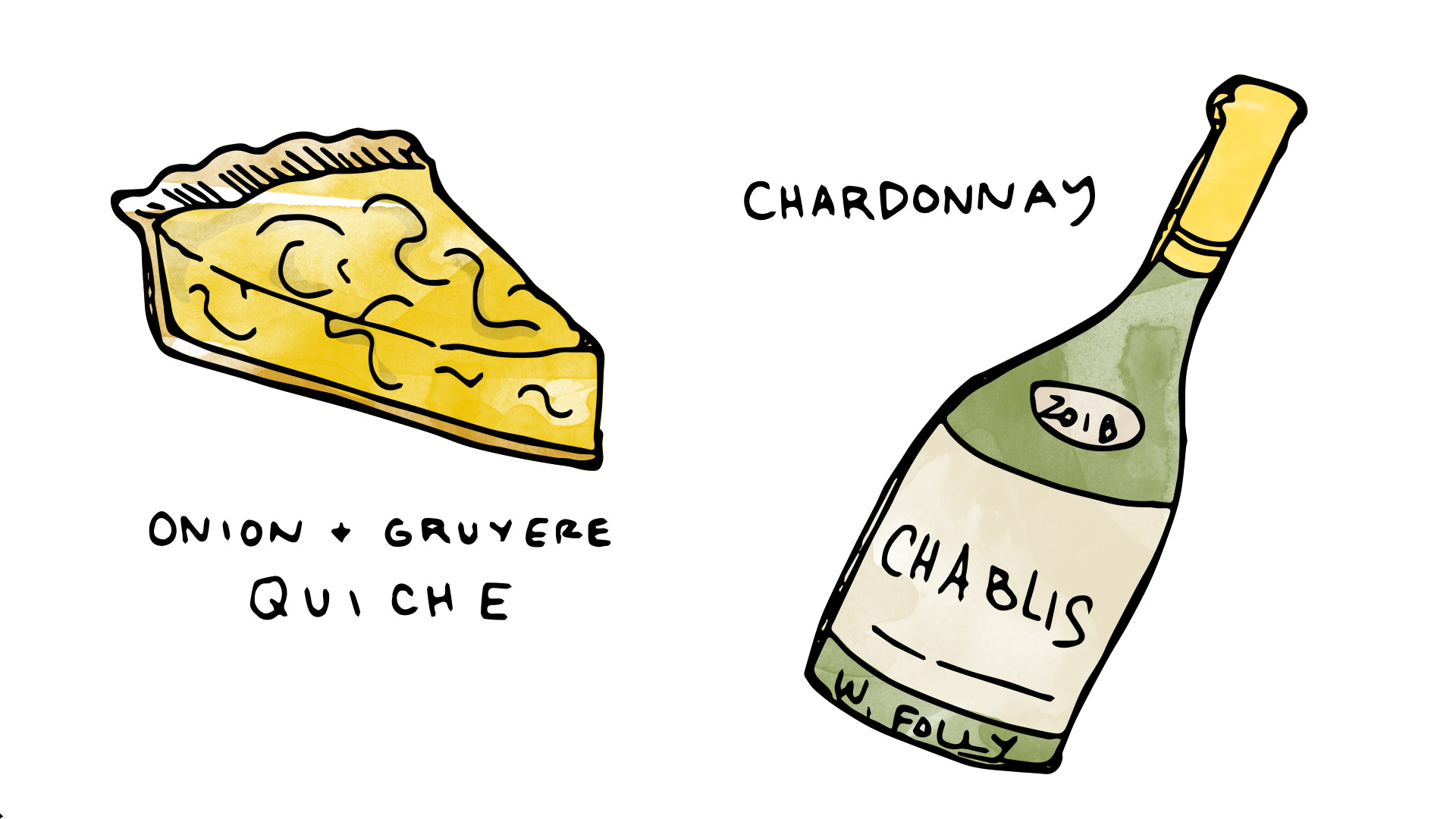 Quiche pairing with un-oaked Chardonnay illustration by Wine Folly