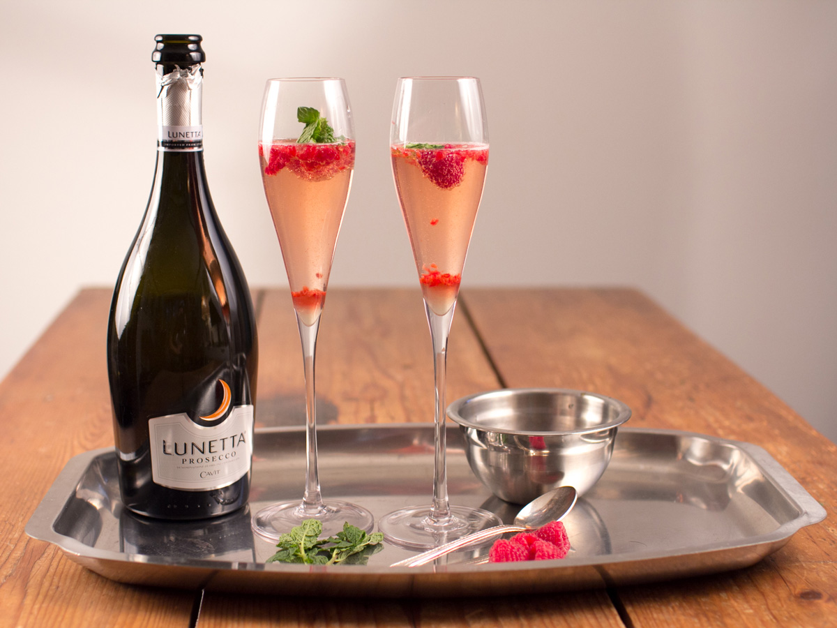 Raspberry Prosecco Mint sparkling wine cocktail