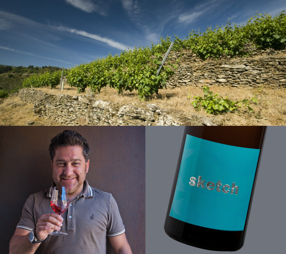 Vineyards in Spain, Raul Perez, bottle of Sketch wine. Photo by Friederike Paetzold