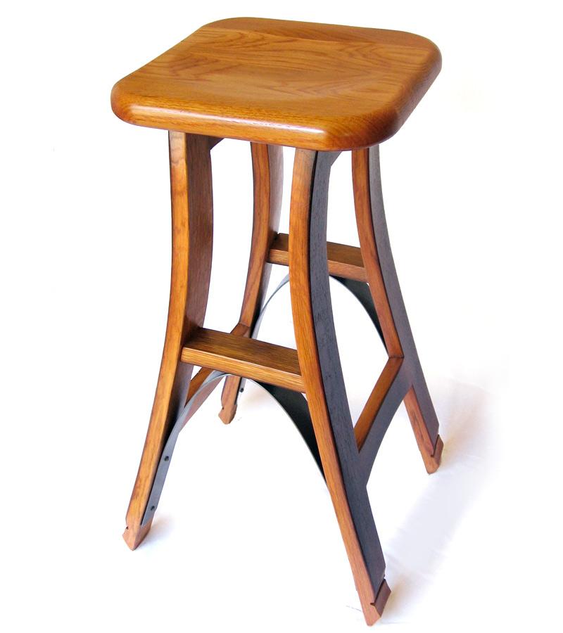 Reclaimed oak barrel bar stool
