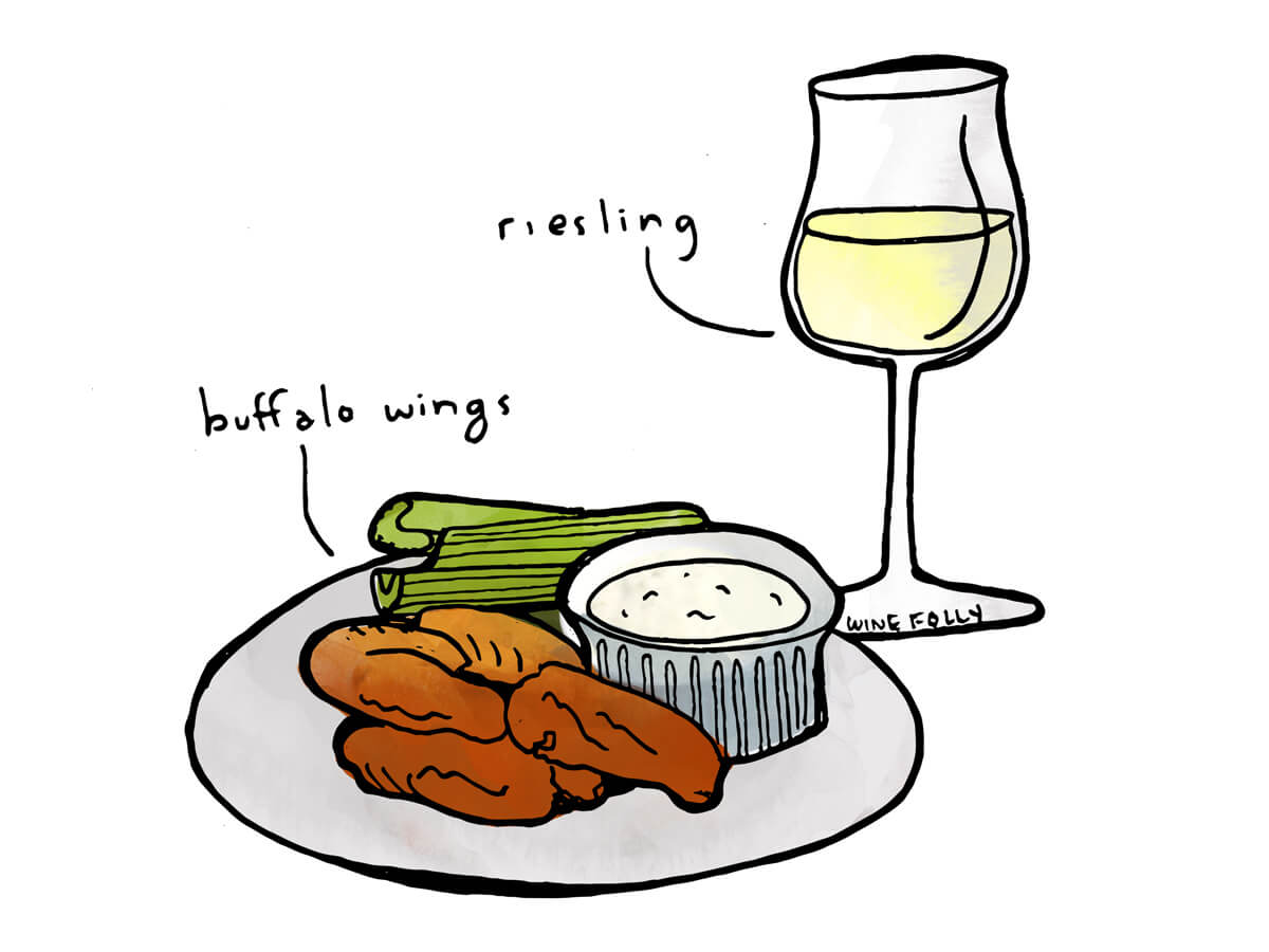 Wine and Buffalo wings pairing with Riesling - by Wine Folly