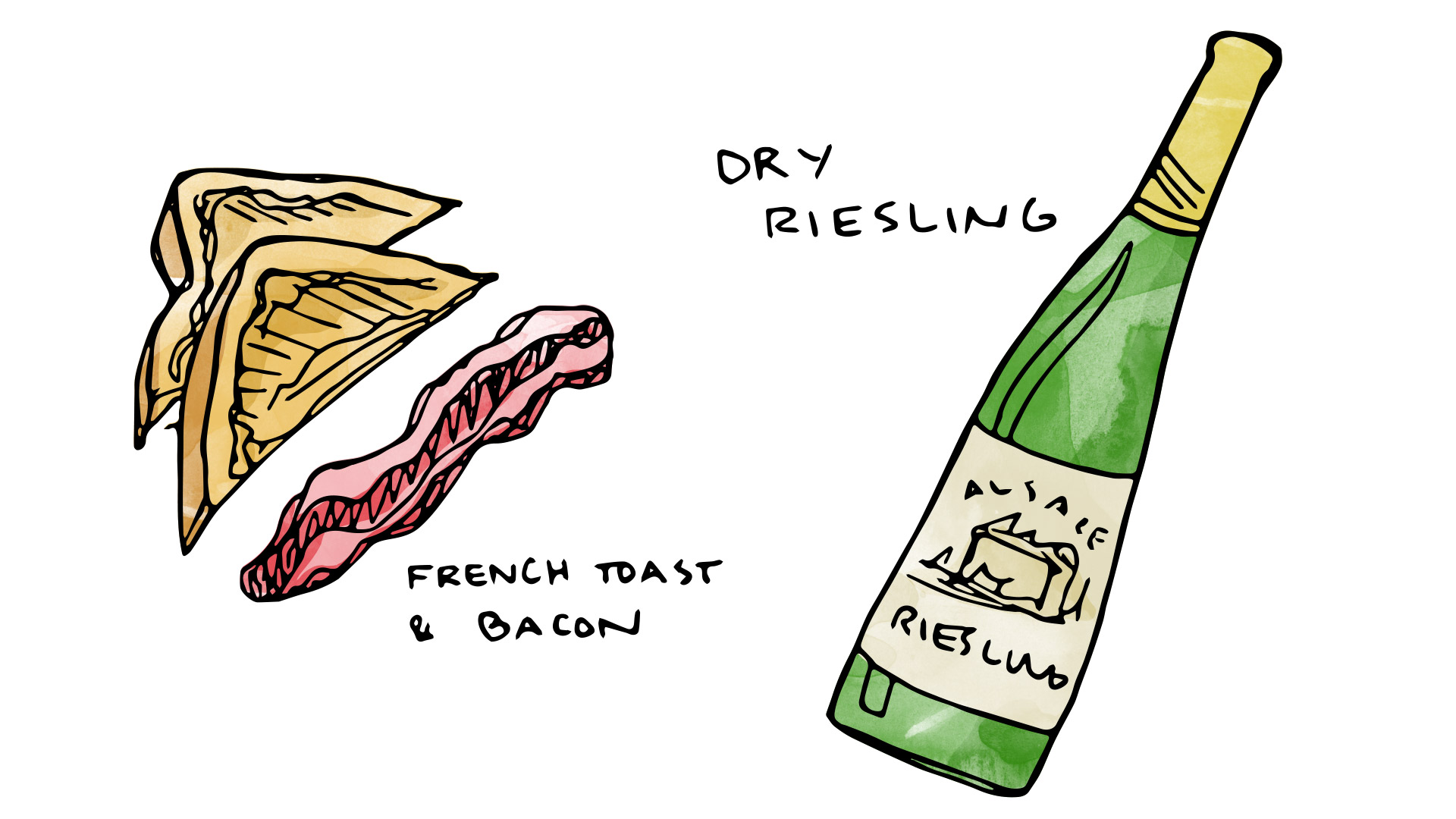 French toast and bacon pairing with dry Riesling from Alsace illustration by Wine Folly