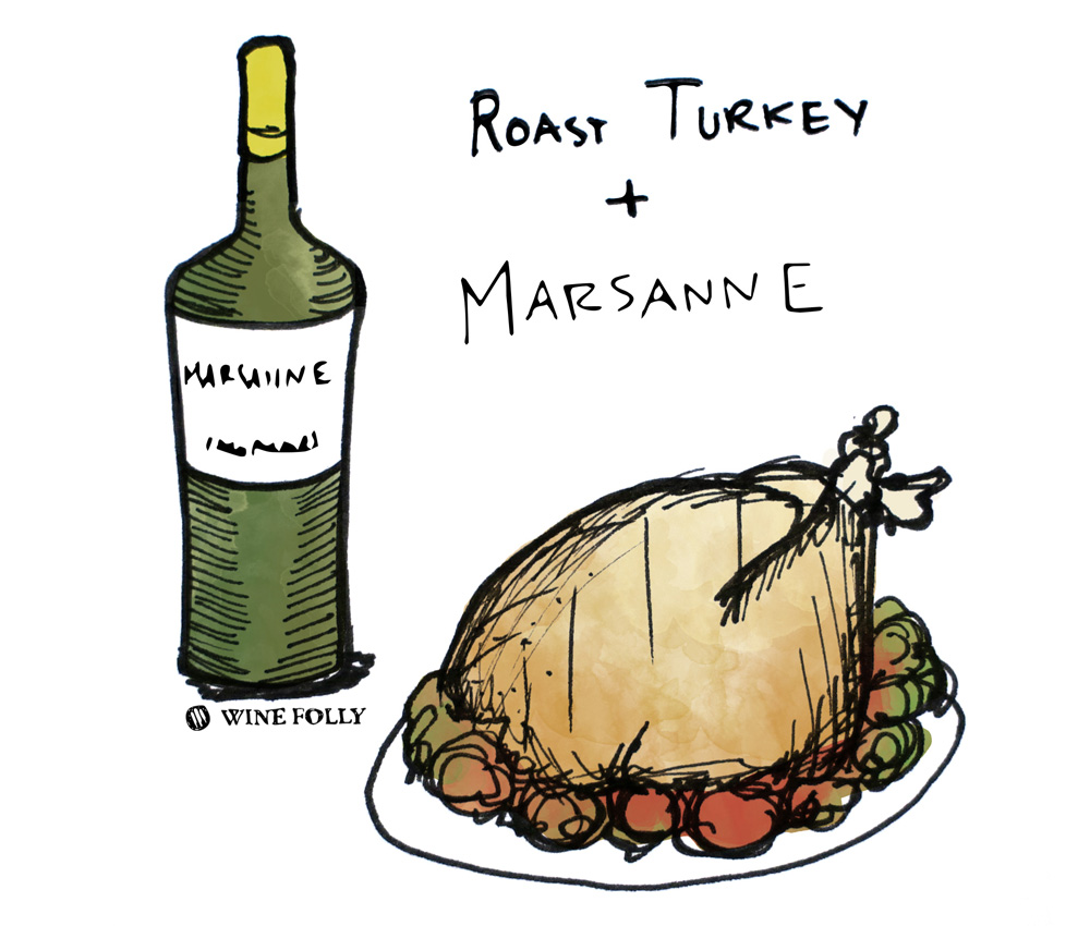 Roast Turkey and Marsanne Wine Pairing Illustration by Wine Folly